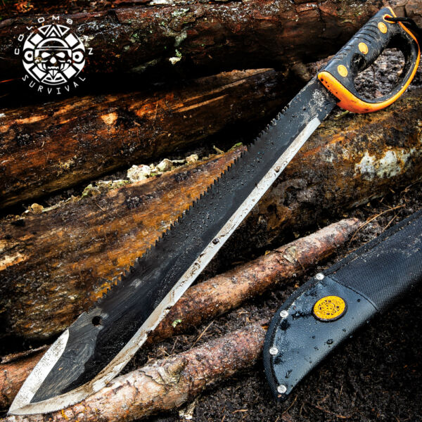 24 quot; HUNTING SURVIVAL Sawback Military CAMPING MACHETE Fixed Blade Knife SWORD