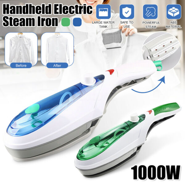 1000W Portable Electric Steam Iron Handheld Fabric Clothes Laundry Steamer Brush