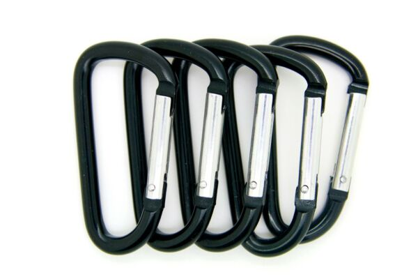 12 pack of 3quot; Aluminum Carabiner Spring Belt Clip Key Chain D Shape Black Color $10.85