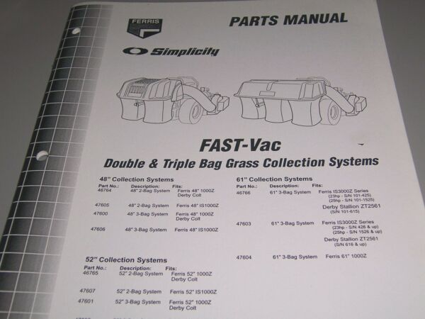 FERRIS Simplicity Parts Manual * FAST Vac Double amp; Triple Bagging Systems