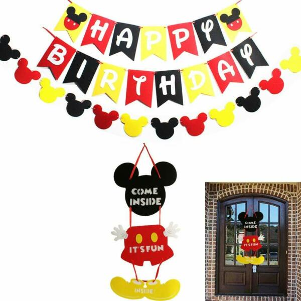 Mickey Mouse Party Supplies Kits Mickey Happy Birthday Banner Flags Garland an $16.64