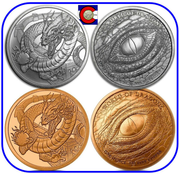 World of Dragons - #3 The Chinese - Silver & Copper 1 oz Rounds in capsules