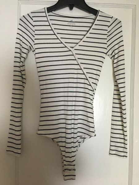 Hollister Must Have Crossover Bodysuit White Stripe Small S $12.99