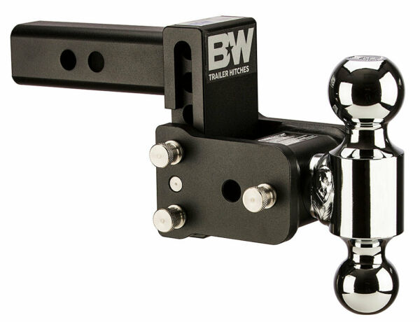 Bamp;W Tow amp; Stow Adjustable Trailer Hitch Ball Mount Black TS10033B