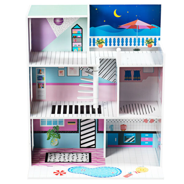 Doll Cottage Kids Pretend Play Dollhouse Toy 3 Level Home Playset Children Gift