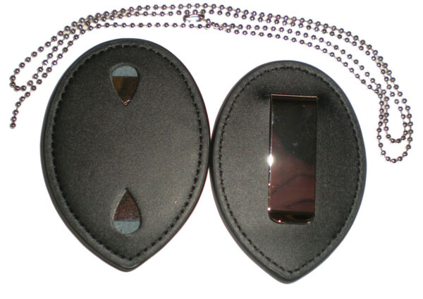 Police Clip Leather Badge holder and Chain Fits Security & Concealed Weapons