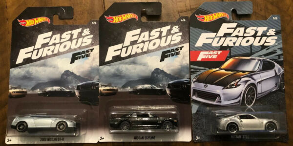 Hot Wheels - FAST & FURIOUS FAST FIVE - NISSAN SKYLINE NISSAN 370Z & 2009 GT-R