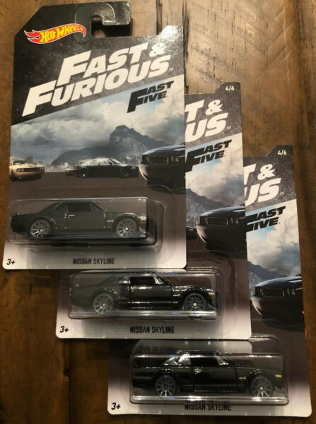Hot Wheels - FAST & FURIOUS - FAST FIVE - NISSAN SKYLINE - BLACK - lot of THREE!