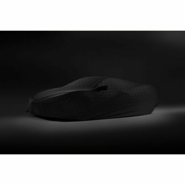 2020 Corvette Premium Indoor Car Cover in Black with Embossed Crossed Flags Logo