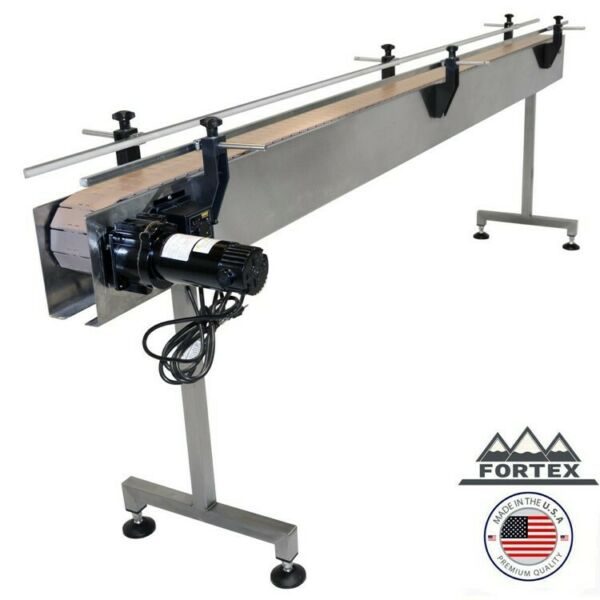 "FORTEX STAINLESS STEEL 8' X 4.5"" INLINE PACKAGING CONVEYOR WITH TABLE TOP BELT"