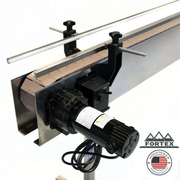 "FORTEX STAINLESS STEEL 4' X 4.5"" INLINE PACKAGING CONVEYOR WITH TABLE TOP BELT"