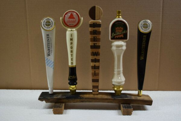 oak whiskey barrel stave 5 beer tap handle display stand handles not included