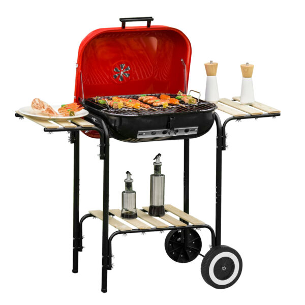 "19"" Steel Porcelain Portable Outdoor Charcoal Barbecue Barbeque Grill"