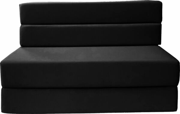 Twin Size 4 Folding Foam Mattresses Sofa Beds Chairs Couches 6x39x75 Black