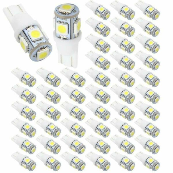 50X White T10 5-SMD 5050 LED Bulbs Car Interior Dome Map Trunk License Lights