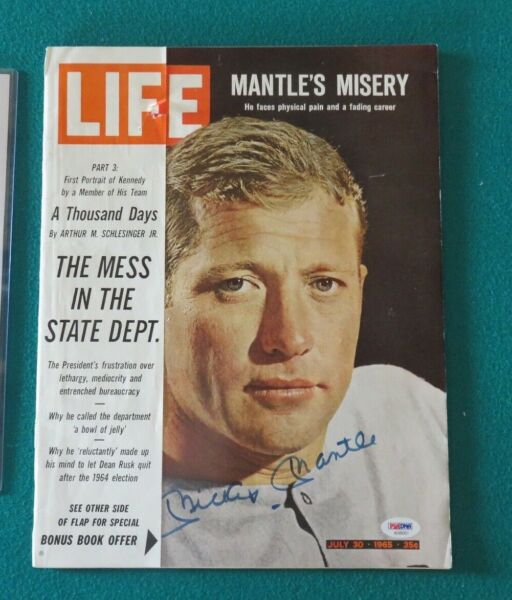 Mickey Mantle Signed Autographed 1965 Life Magazine PSADNA LOA NO LABEL