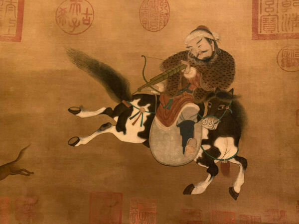 A Small Chinese Antique Scroll Painting on Silk  Artist Signed with Seal Marks.