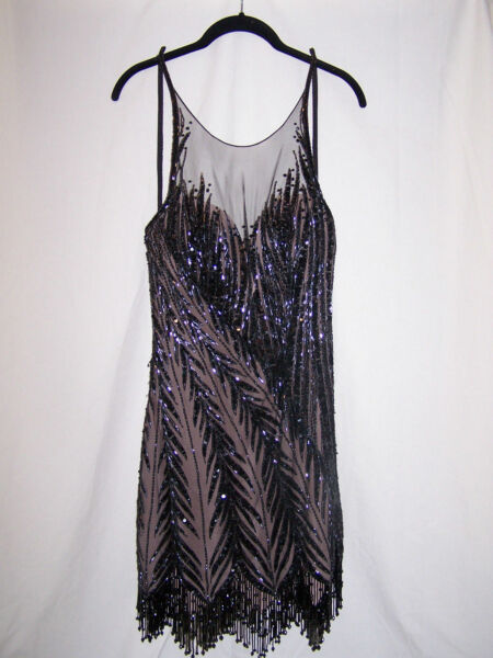 Vintage BOB MACKIE Black Beaded Cocktail Dress-Little Black Dress (Size 8)