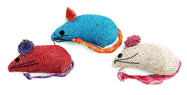 COLORED BURLAP MICE 3 pack CAT TOYS Catnip Plush Sisal Tail Texture Fun Mouse