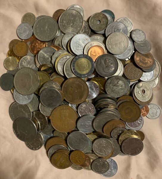 WORLD COIN MIX - 6 POUNDS  600+ COINS    FREE SHIPPING - USA ONLY