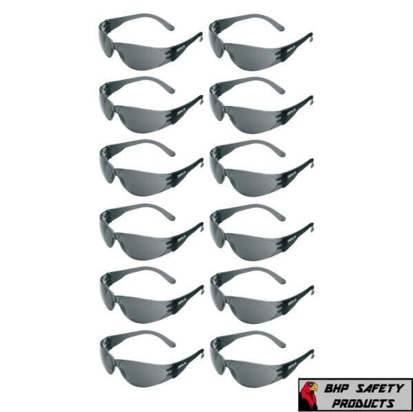 12 PAIR PACK Protective Safety Glasses Grey Smoke Lens Sunglasses Work Lot of 12 $11.25