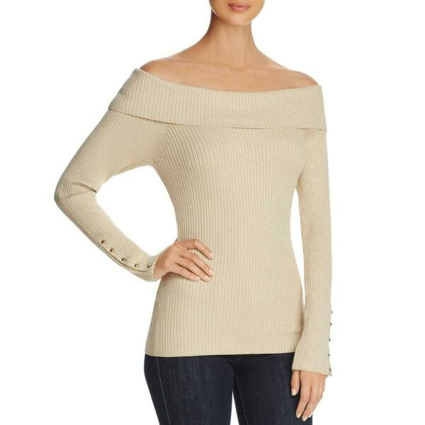 Marled Womens Gold Off The Shoulder Metallic Ribbed Knit Sweater Top L BHFO 8875 $9.99