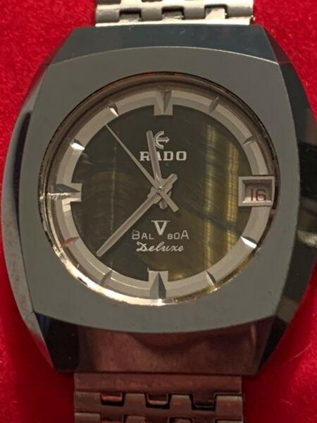 Vintage Rado Balboa V Deluxe Automatic Tigers Eye Wristwatch With Date