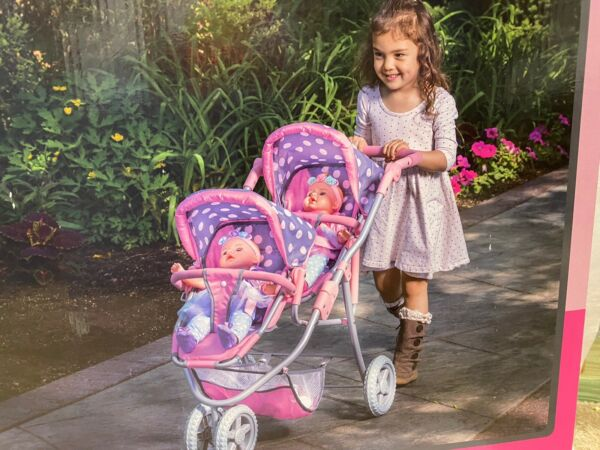 NEW Lissi Double Twin Doll Toy Stroller Fits Two Doll Up To 18quot; NIB $54.99