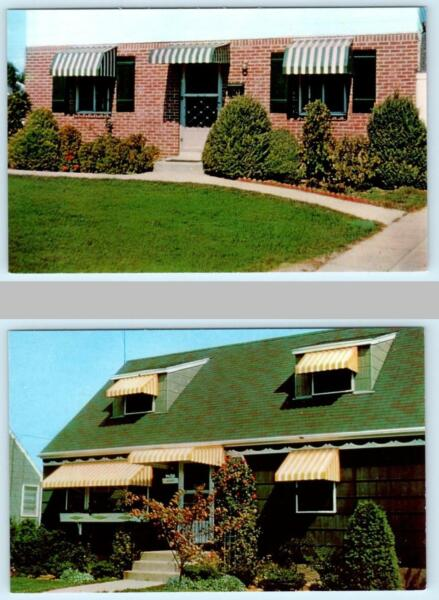 2 Advertising Postcards FLEXALUM ALUMINUM AWNINGS ca 1960s