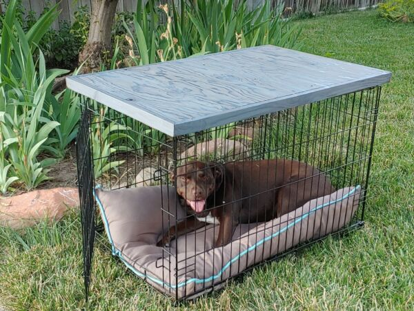 DOG CRATE TOPPER HANDMADE WOOD DOG CRATE TOPPER END TABLE CONDITION IS NEW