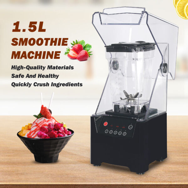 Commerical Electric Smoothie Blender 1.5L Countertop Mixers 800W Black 110V