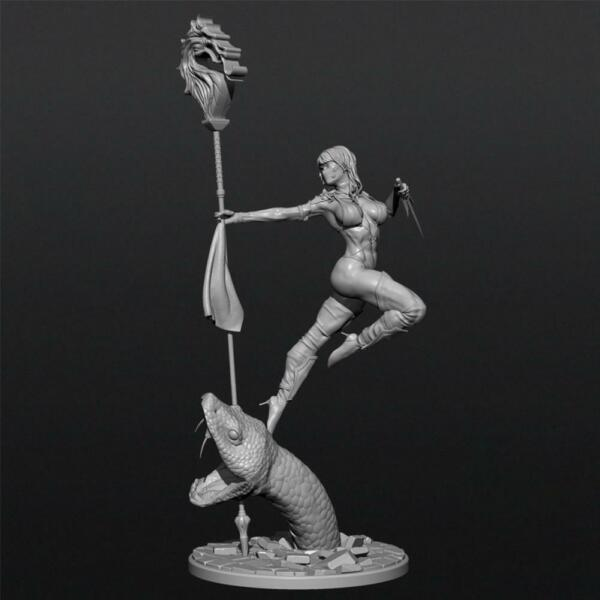 124 75mm Female Resin Soldier Model Unpainted Sexy Girl Beheading Python