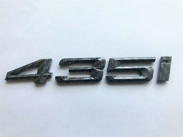 CARBON EFFECT 435I BADGE REAR BOOT TRUNK FOR REAR OF CAR FITS BMW MODELS $18.79