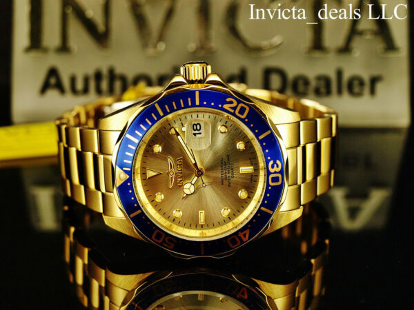 Invicta Men's 40mm Pro Diver SUBMARINER Champagne Dial Gold Tone SS 200m Watch