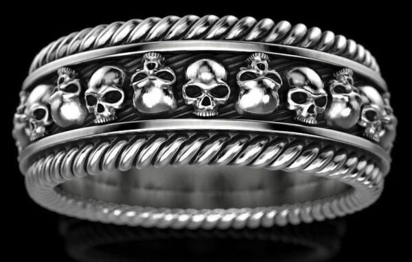 Heavy Gothic Skull Ring Twisted Mens Rings Biker Punk Unique Band In Oxidized