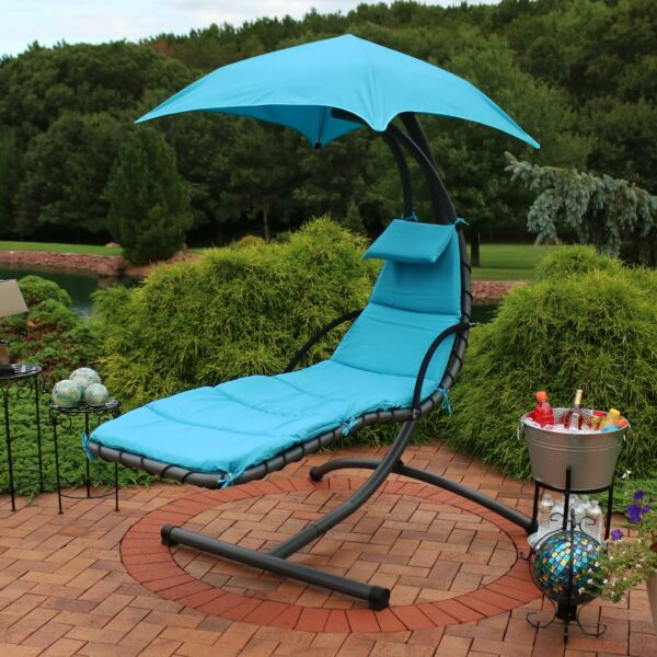 Sunnydaze Hanging Floating Patio Chaise Lounger Chair with Canopy - Teal - 79
