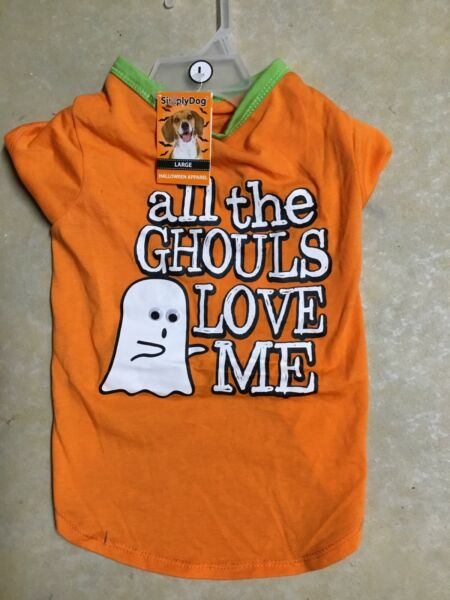 SIMPLY DOG Halloween quot;ALL THE GHOULS LOVE MEquot; Orange T SHIRT Puppy Dog LARGE $16.50