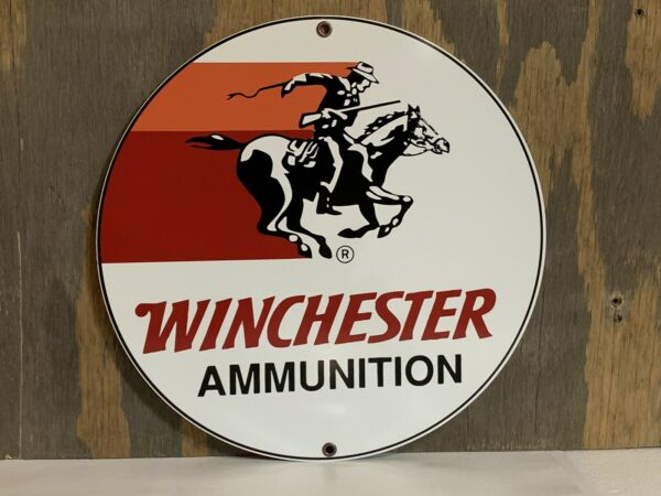 Winchester Ammunition Hunting Gun Vintage Style Round Metal Sign