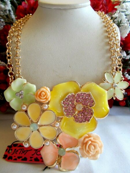 BETSEY JOHNSON LOVELY CRYSTAL CRYSTAL PEARL SPRING FLORAL DOUBLE STAND NECKLACE $61.99