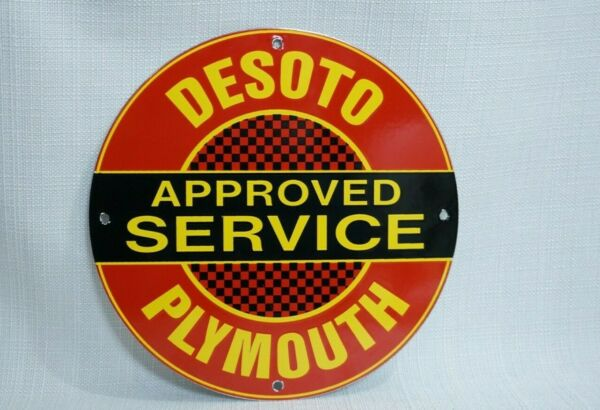 VINTAGE PLYMOUTH PORCELAIN SIGN GAS MOTOR OIL SERVICE DEALERSHIP AD PUMP PLATE