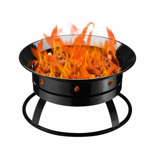 Outdoor Round Black Propane Gas Fire Pit Bowl Portable Firebowl with Stones