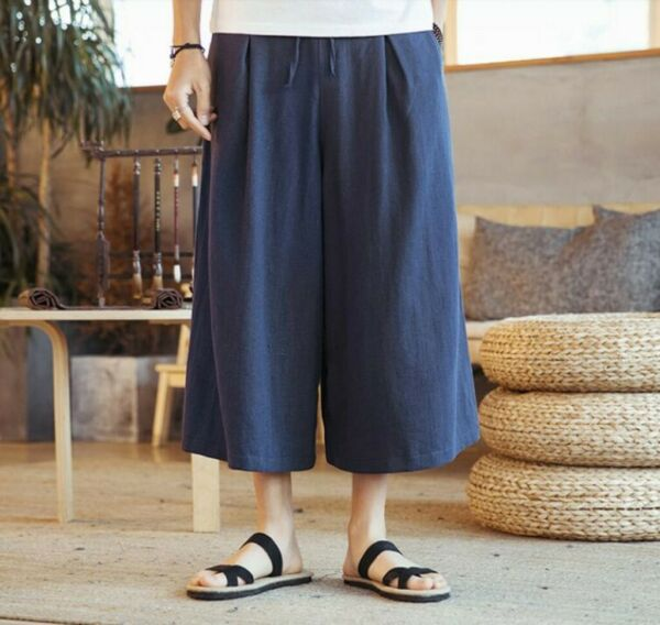 Summer Men's Cropped Trousers Linen Pants Wide Leg Loose Fit Shorts Leisure New