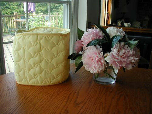Yellow 4 Qt. Crockpot Appliance Cover Round, quilted fabric LAST ONE