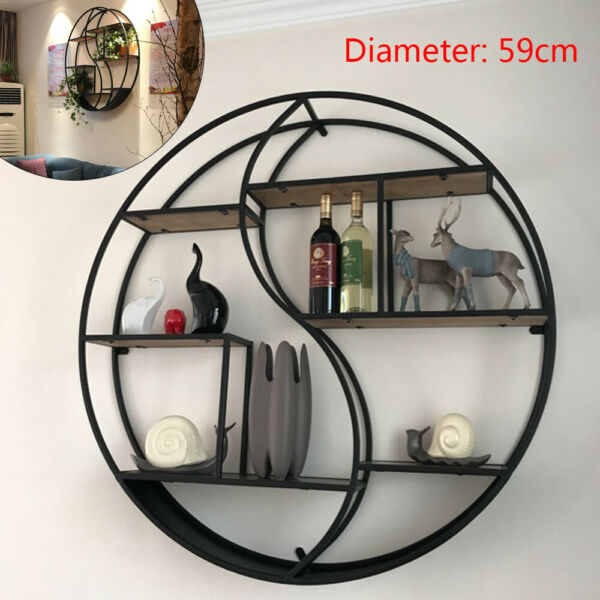 59CM Vintage Decorative Wall Mounting Rack Round Shelf Wood Storage Bookcase DHL