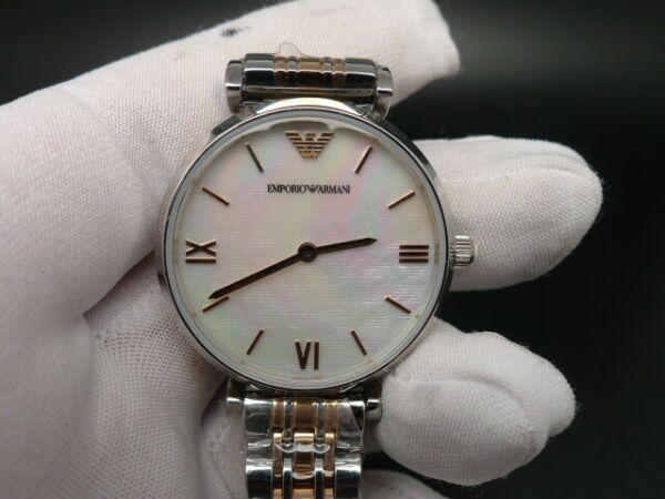 New Old Stock EMPORIO ARMANI AR1987 Rose Gold Stainless Steel Quartz Women Watch
