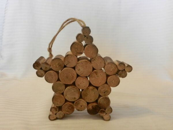 Handmade Wooden Folk Art Hanging Star Made from Tree Branches $18.75