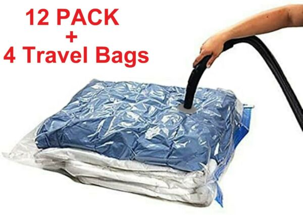 16 PACK: 12 LARGE Space Saver Storage Vacuum Seal Organizer Bags 4 Travel Bags $21.95