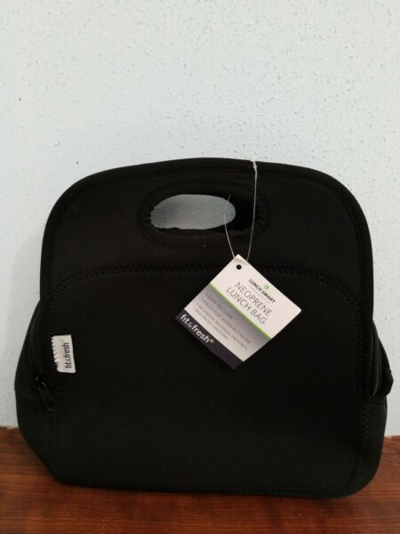 NWT Fit & Fresh Neoprene Lunch Bag with Zipper Black Color Easy Clean.