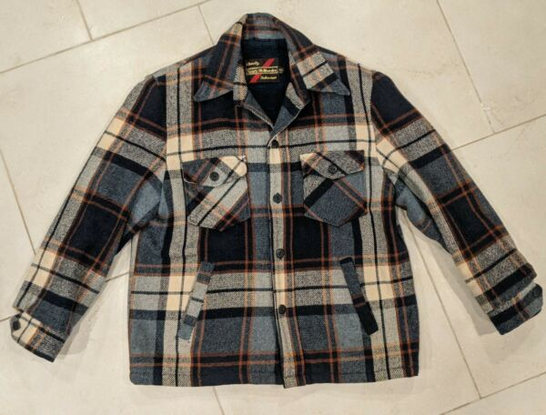 Vintage Sears The Mens Store Outerwear Wool Plaid Coat Jacket 42R