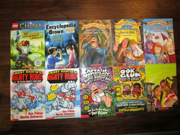 Lot of 10 Boys High Interest Chapter Books Lego Chima Captain Underpants